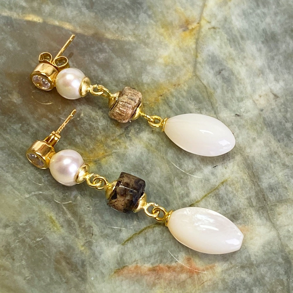 Mother Pearl and Ancient Roman Beads Earrings