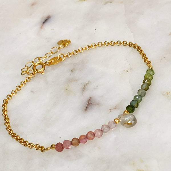 Pink and Green Tourmaline Bracelet