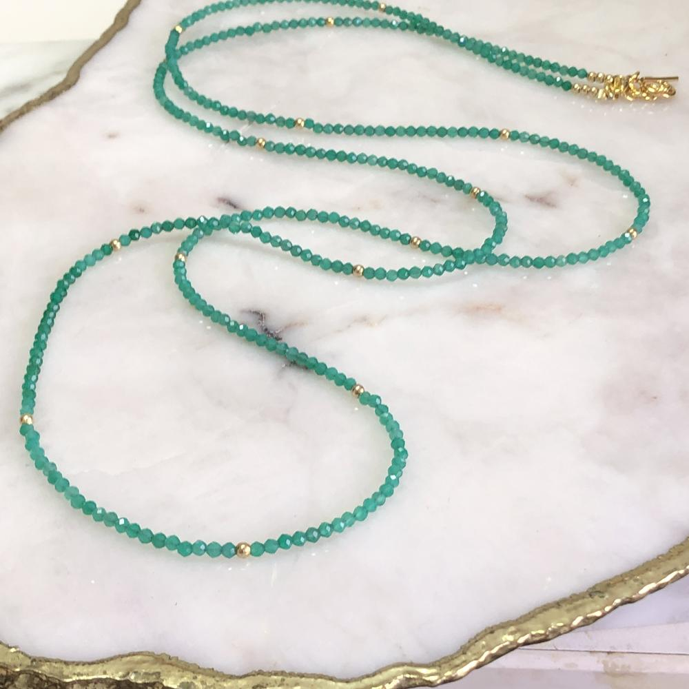 Green Onyx Long Necklace