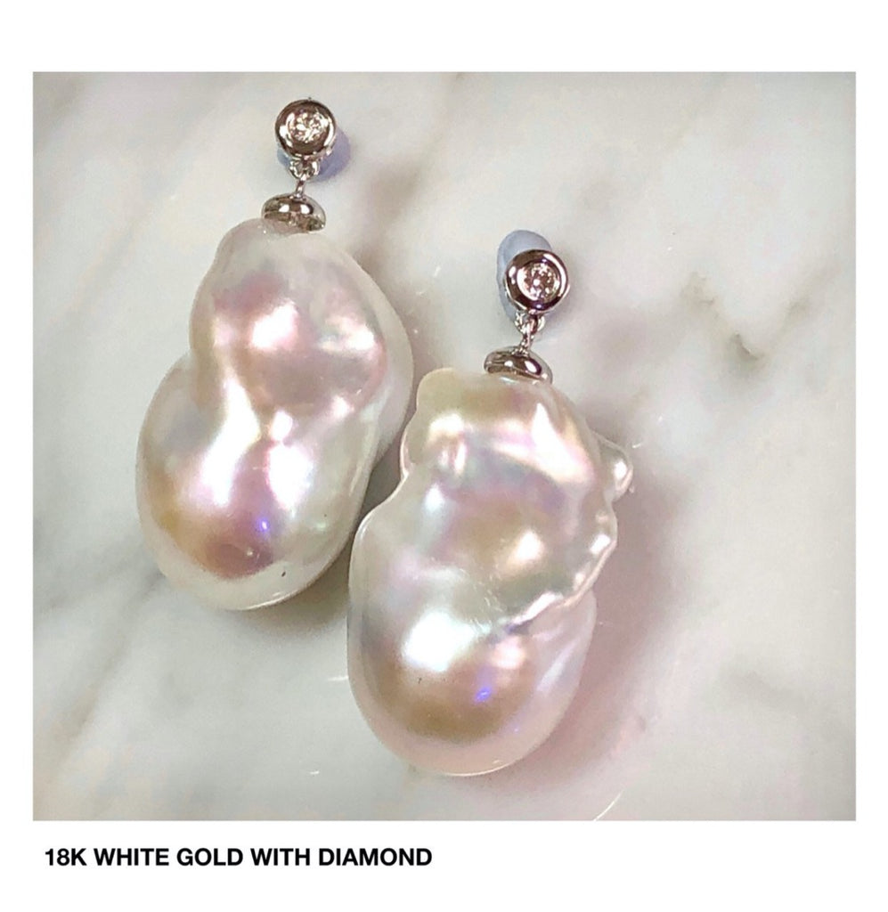 Baroque Pearl Dangle Studs