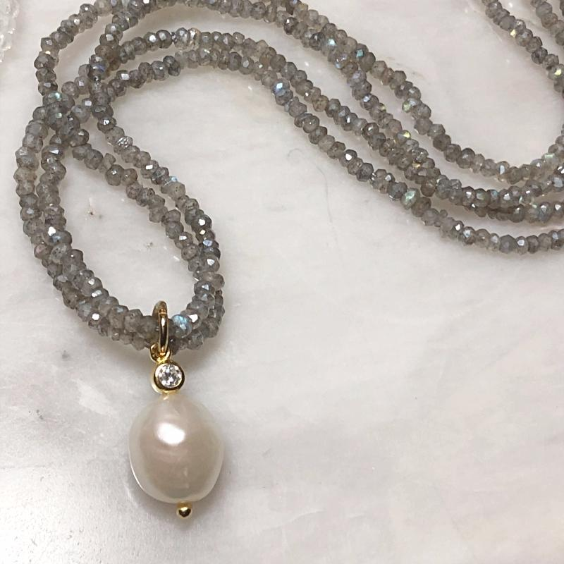 Labradorite and Pearl Pendant Necklace