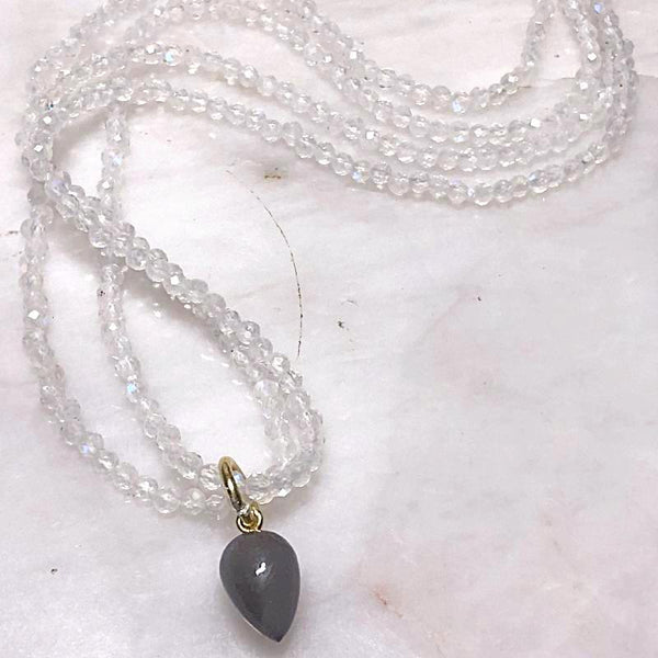 Rainbow Moonstone and Pendant Necklace