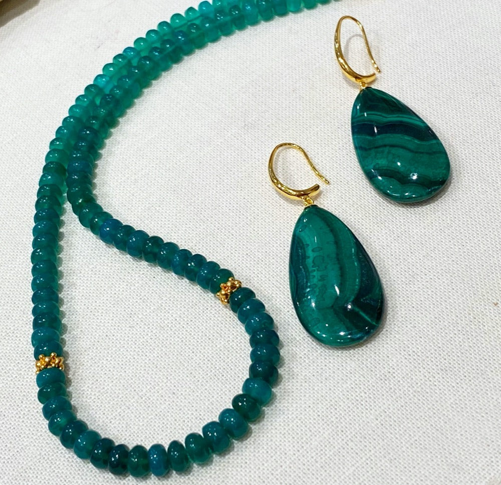 XL Malachite Earrings with a Green onyx necklace