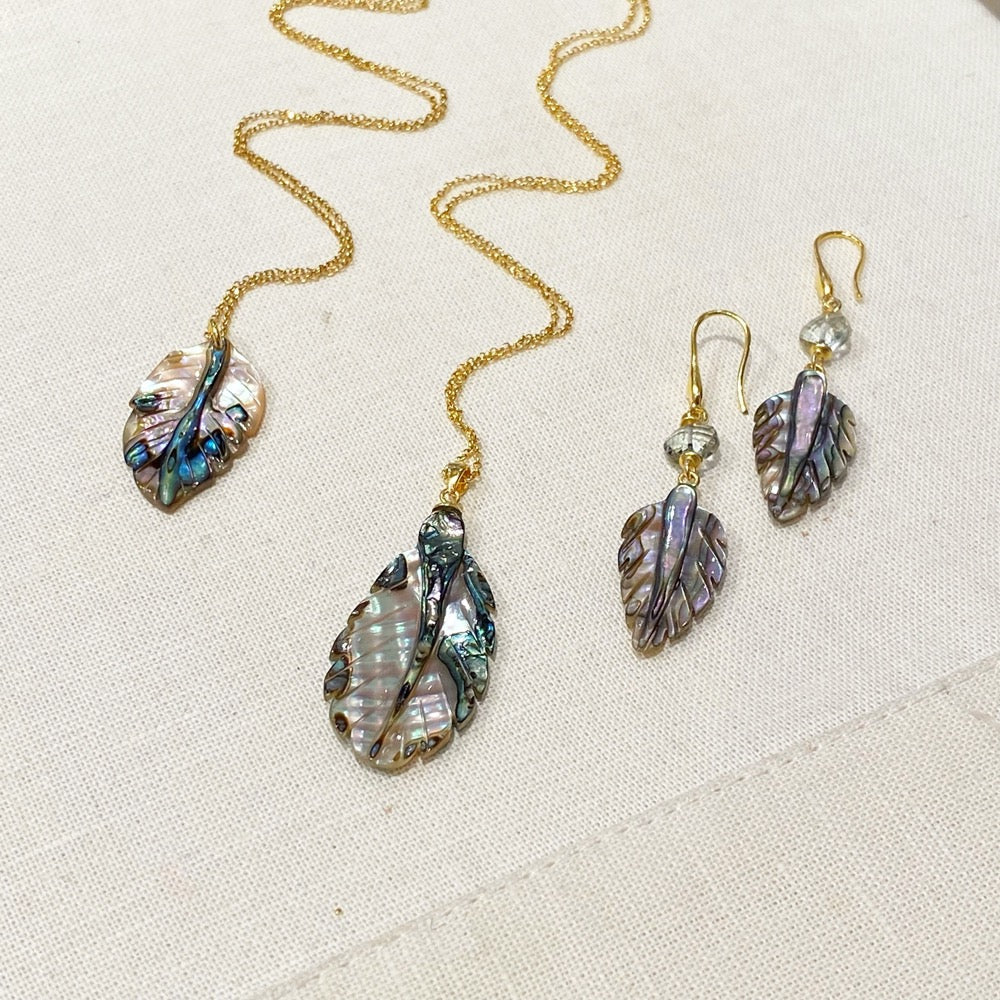 Abalone Leaf Pendant Necklace and earrings