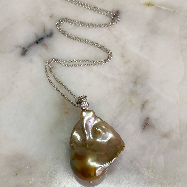 Golden Silver Baroque Pearl Pendant Necklace
