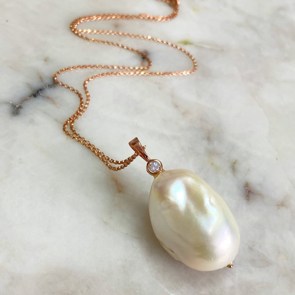 White Baroque Pearls Pendant Necklace