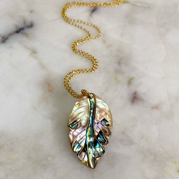 Abalone Leaf Pendant Necklace