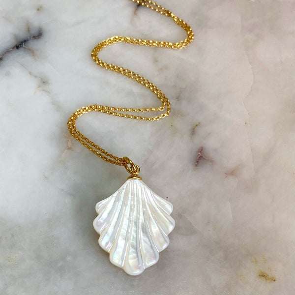 White Fan Seashell Pendant