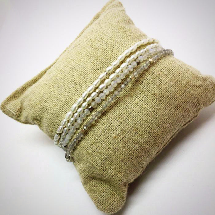 Baby Rice Pearls Bracelet Stack On Pillow
