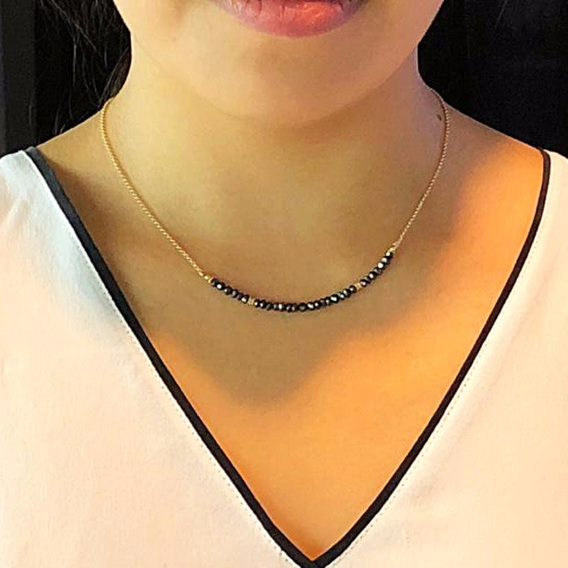 Black Diamonds Chain Necklace on Model