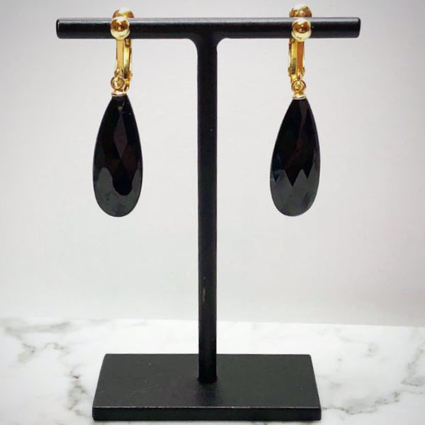 Black Spinel Clip On Earrings