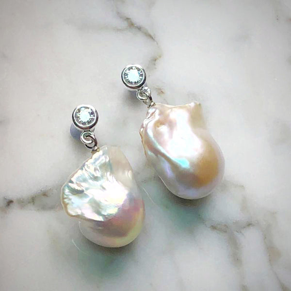 White Baroque Pearl Stud Dangle Earrings