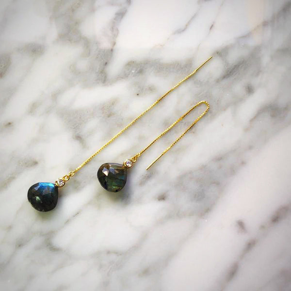 Labradorite and Topaz Threader Earring
