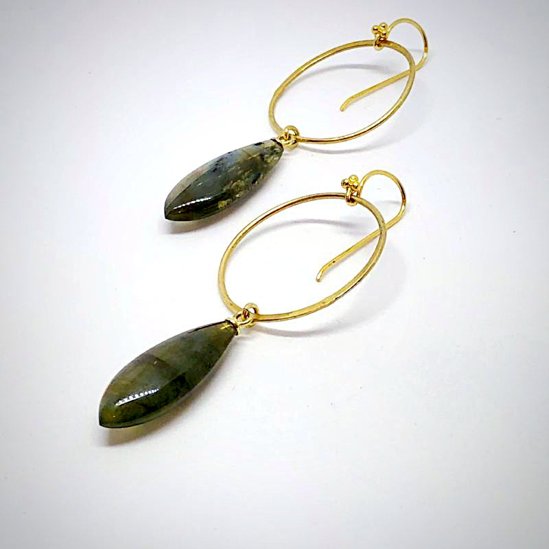 Labradorite Front Hoop Earrings