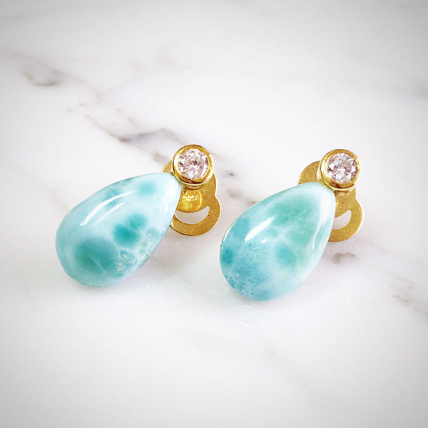 Larimar Stud Drop Earrings