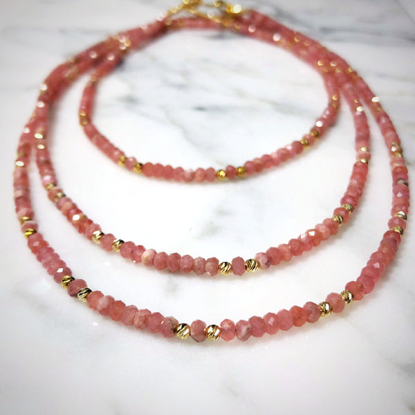 Rhodochrosite Long Necklace