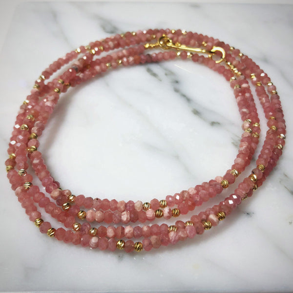 Rhodochrosite Long Beaded Necklace