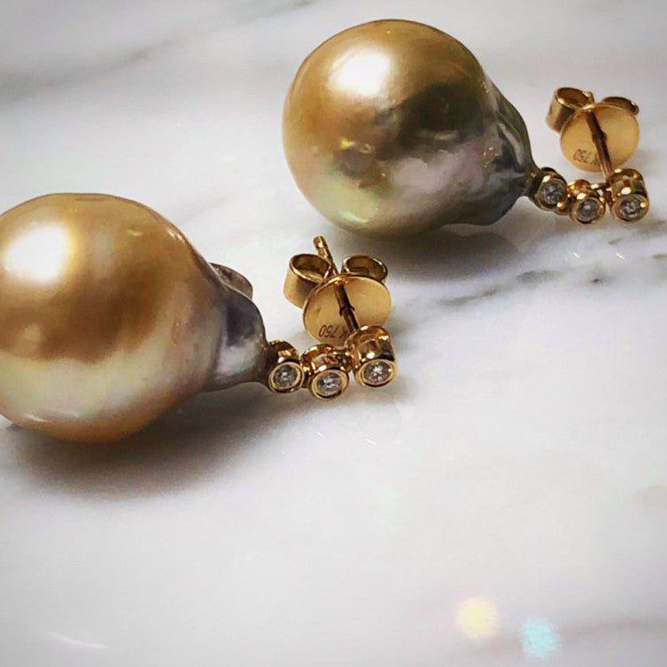 South Sea Pearls Diamond Earrings