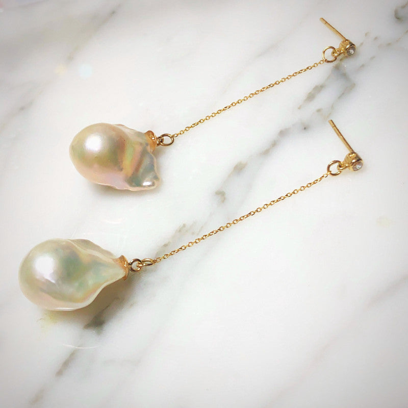 Baroque Pearl & Diamond Thread Long Chain Earrings