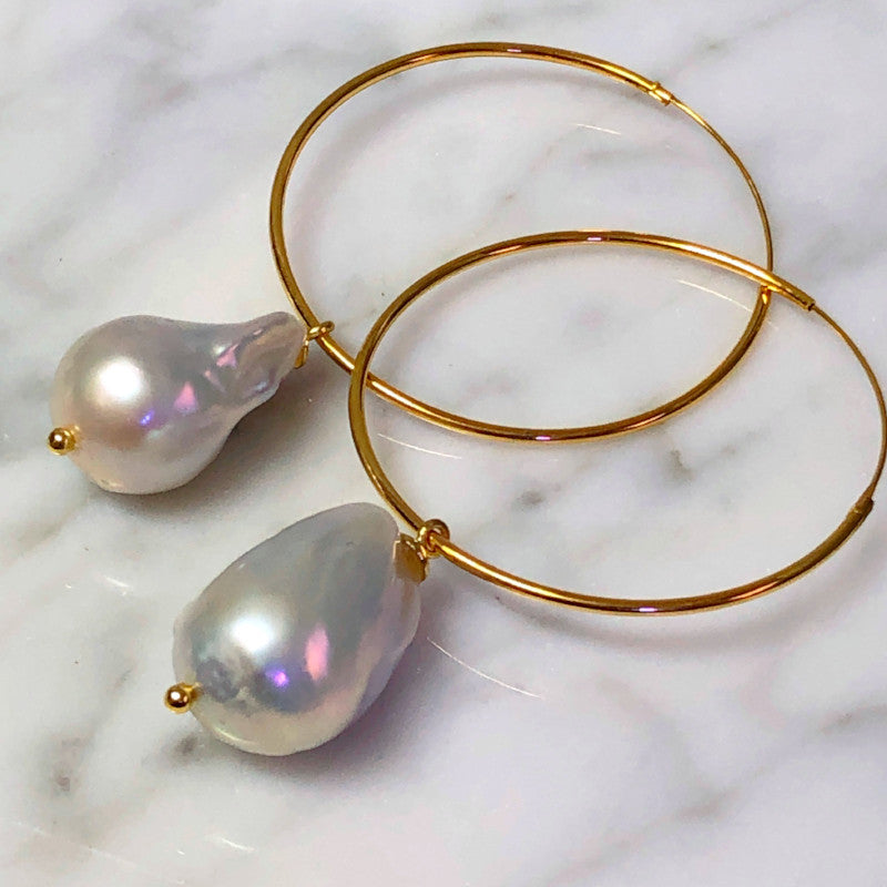 White Baroque Pearls Grand Hoop Earrings