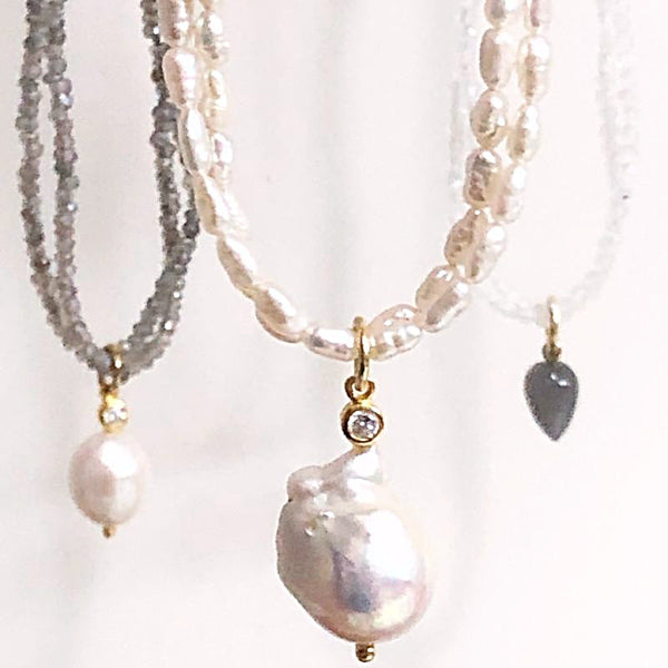 Double Strand Pearl Necklace with Baroque Pearl Pendant