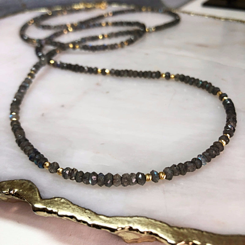Labradorite Long Beaded Necklace