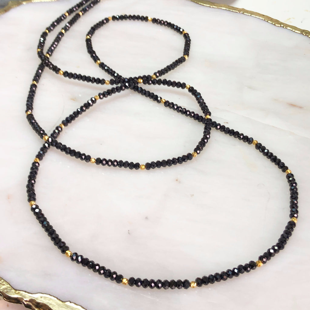 Black Spinel Long Necklace
