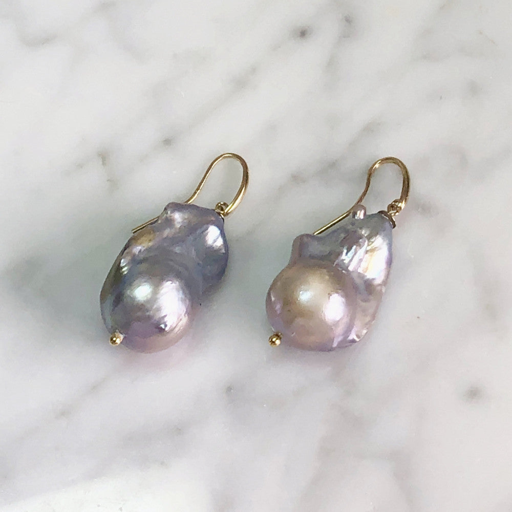 Extra Large Grey Baroque Pearl Earrings