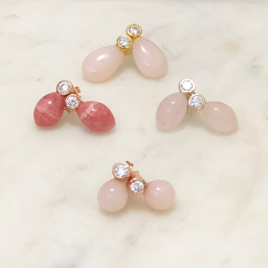 Rhodochrosite, Rose Quartz And Pink Opal Studs