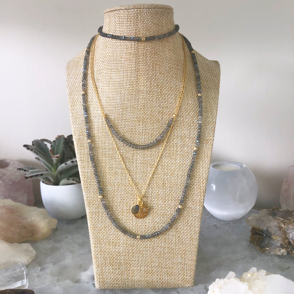 Labradorite Charm Chain Necklace