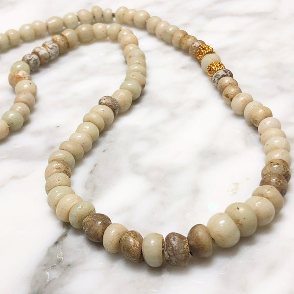 Ancient Venetian Beige Glass Necklace