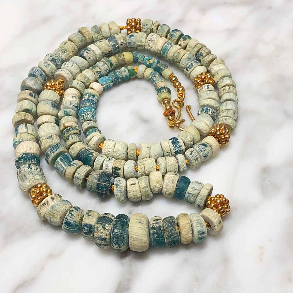 Ancient Teal And White Glass Necklace