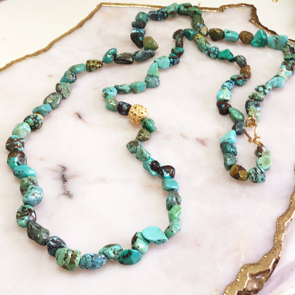African Turquoise Beaded Long Necklace