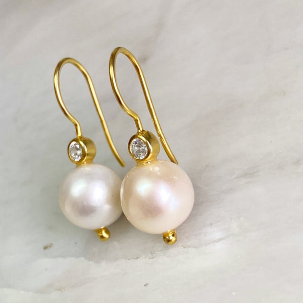 White Potato Pearl Earrings