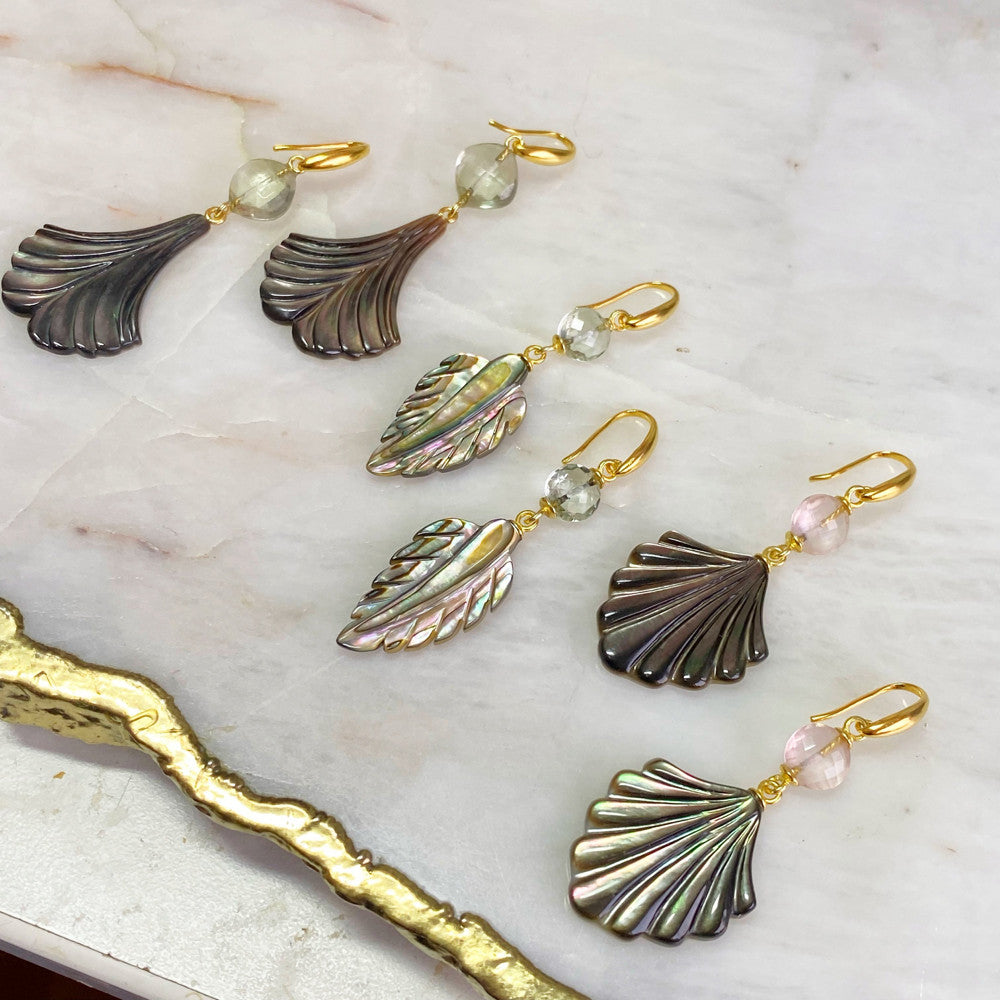 Abalon Feather with Green Amethyst Earrings
