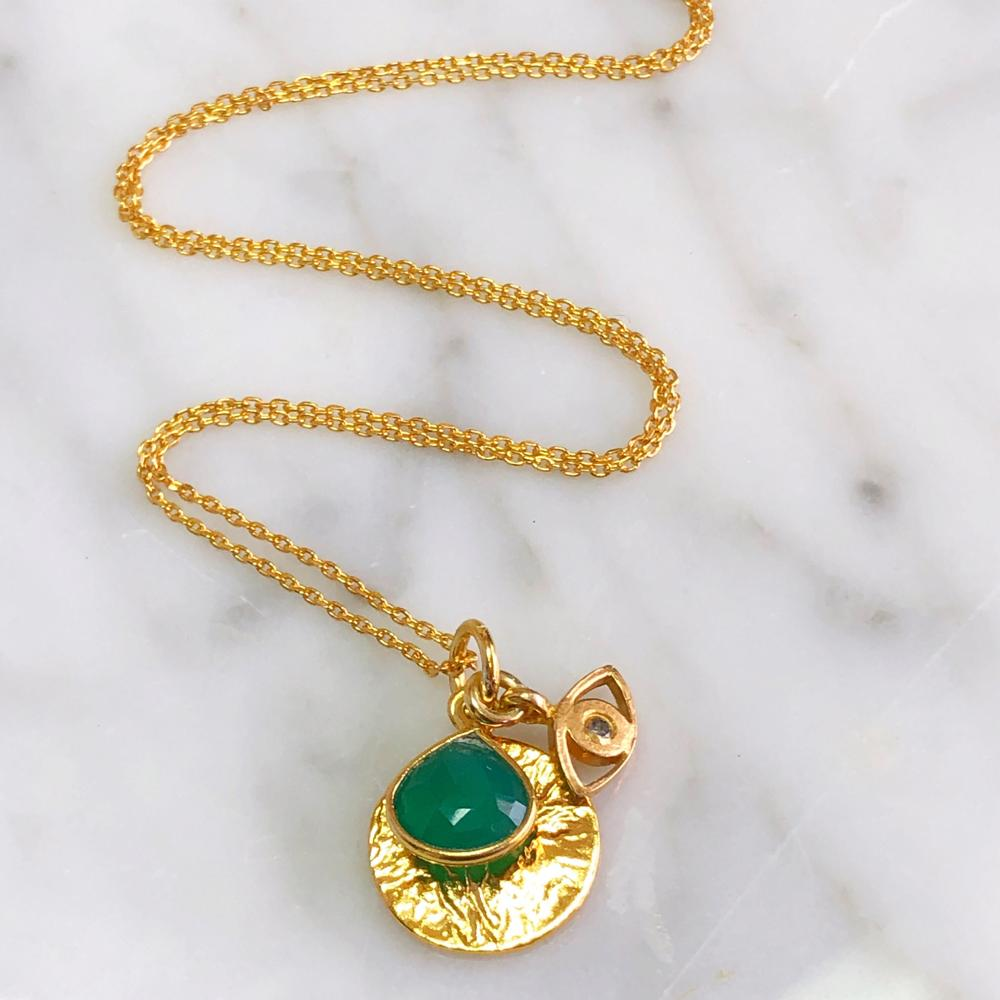 Green Onyx Charm Necklace