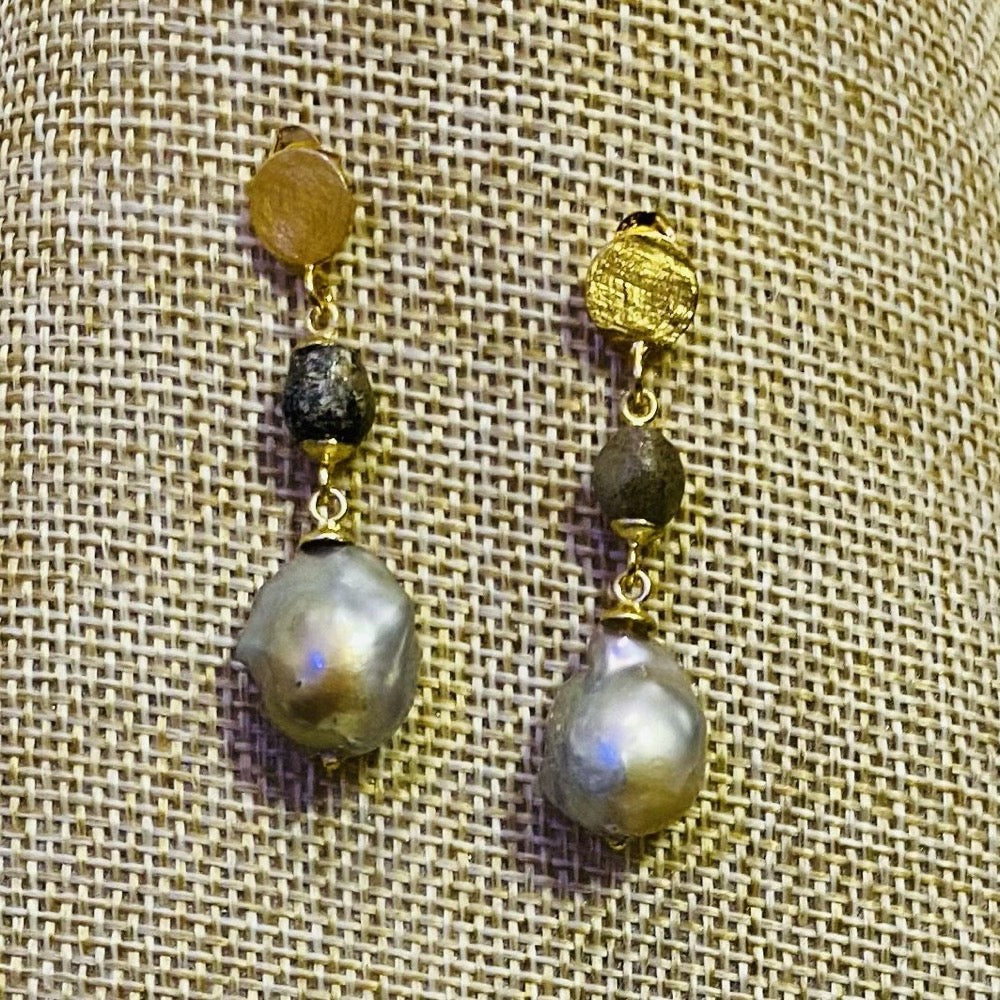 Grey Baroque Pearl and Ancient Venetian Earrings