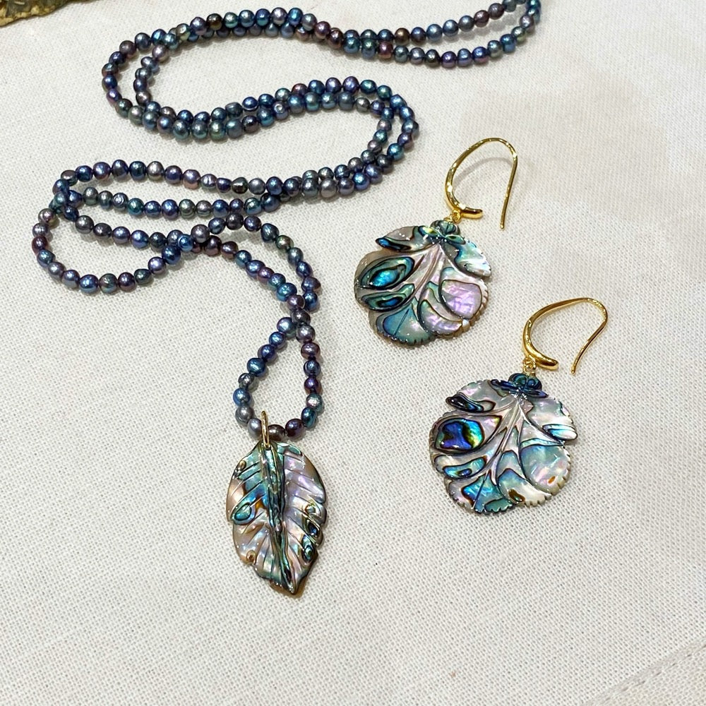 Abalone Leaf Earrings and necklace