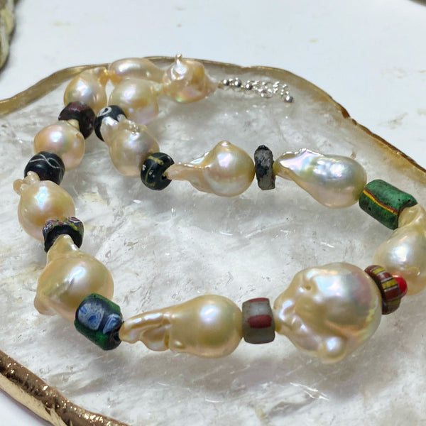Champagne Pearls and Ancient Venetian Necklace