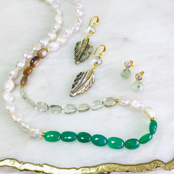 Green Onyx, Green Amethyst, Brown Moonstone and White Pearls Necklace
