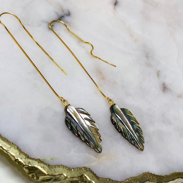 Abalone Feather Long Threader Earrings