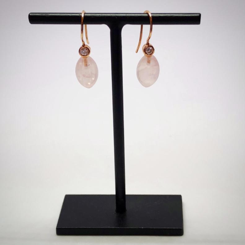 Pink Quartz Smooth Acorn Drop Earrings