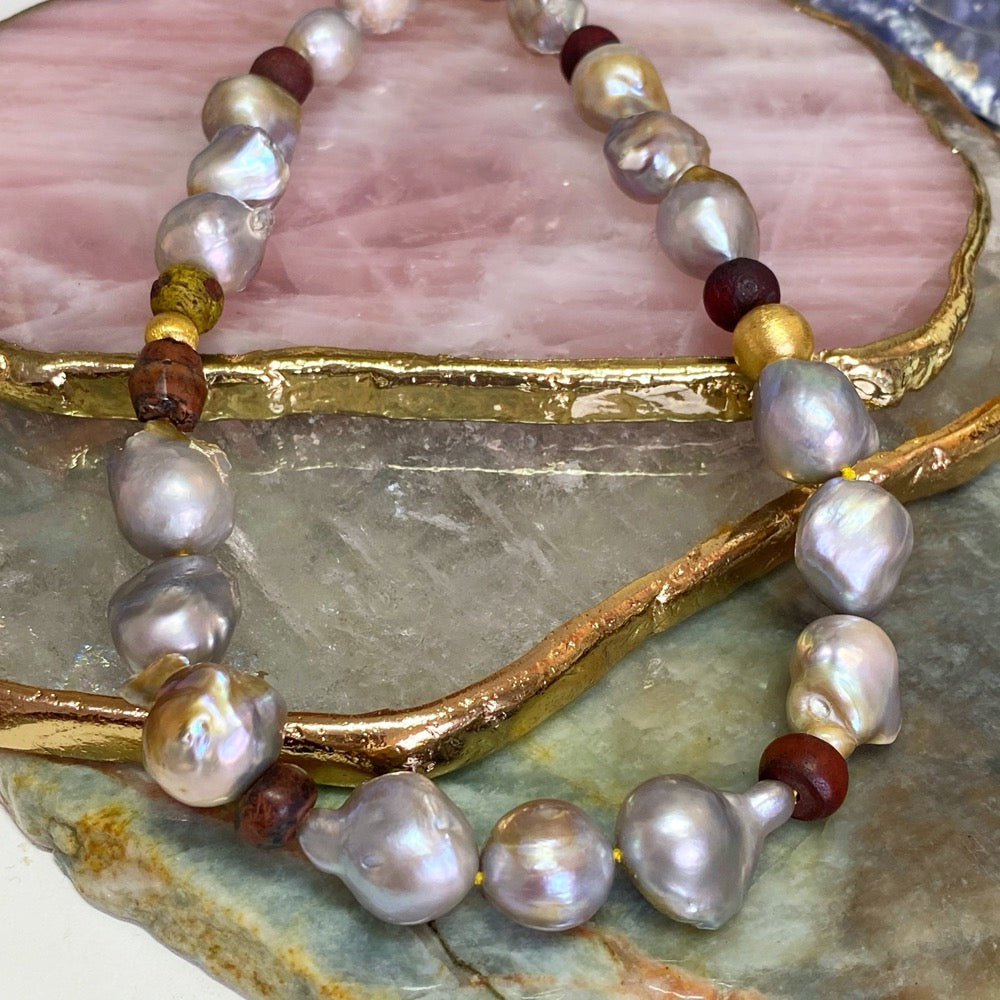 Grey Baroque Pearl and Ancient Venetian Beads Necklace