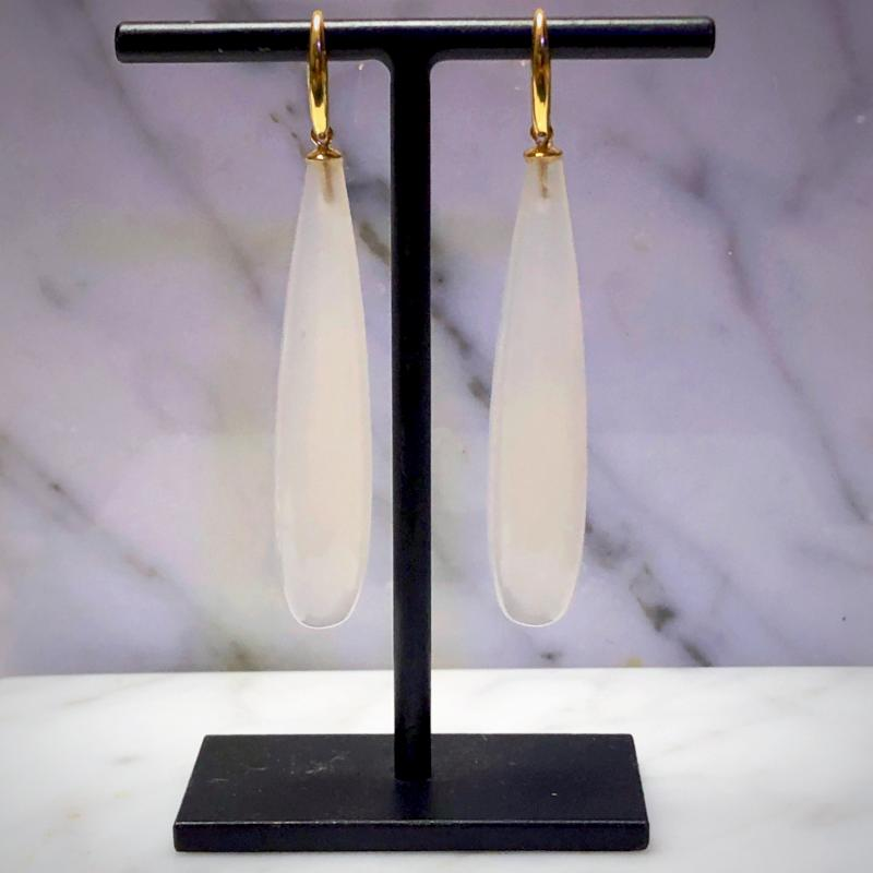 White Agate Long Drop Earrings