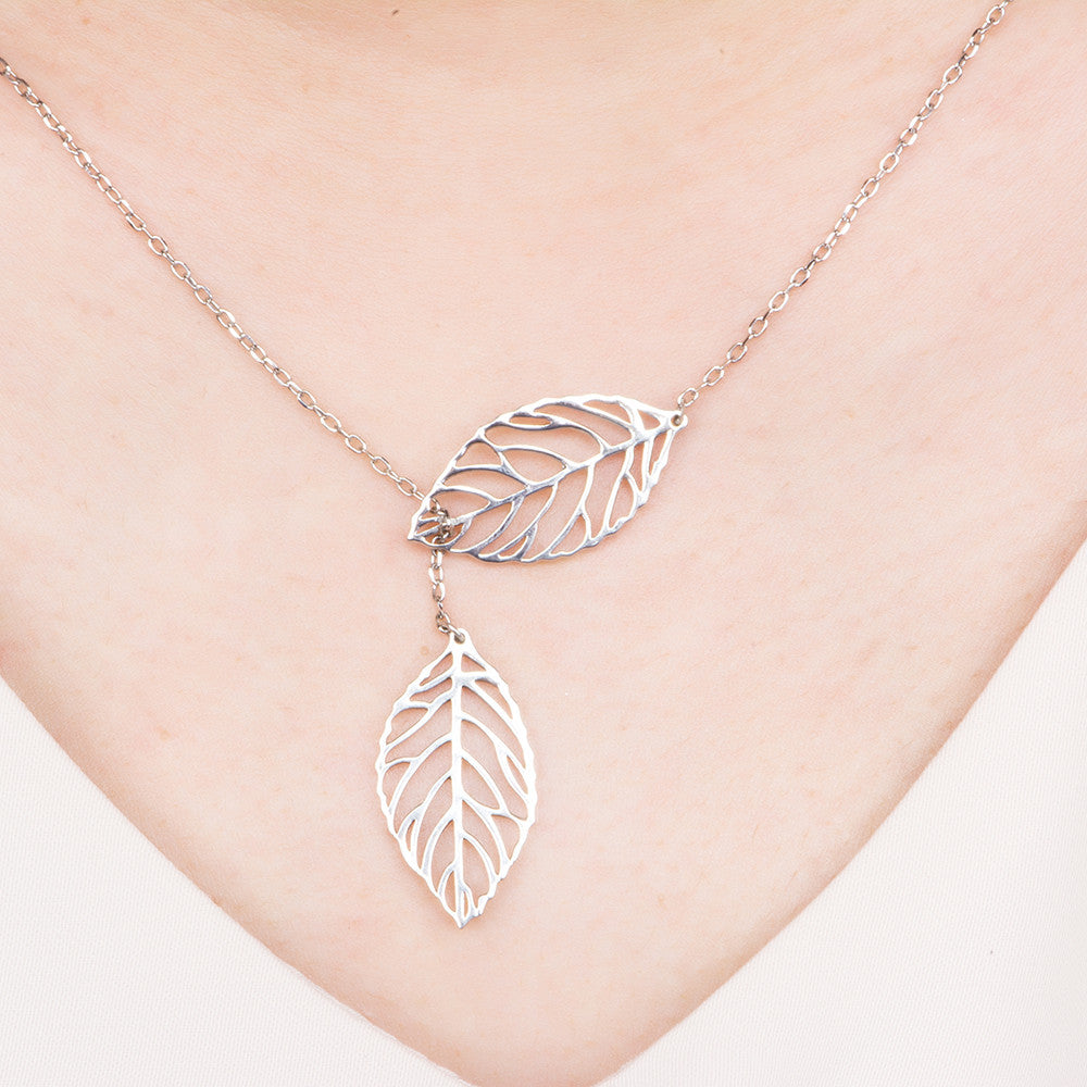 model photo of birch Leaves necklace ATN171006
