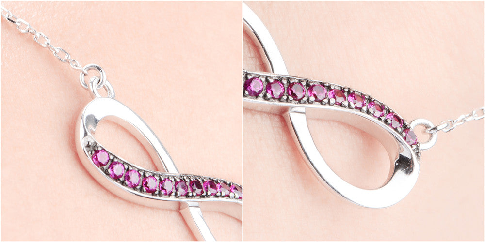 Apotie Jewelry 925 Sterling Silver Half Pave Fuchsia CZ Infinity Necklace