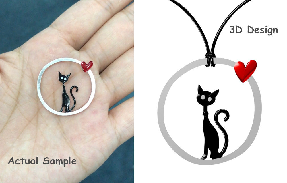 Apotie Jewelry 925 Sterling Silver Enamel Lucky Powerful Black Kitty with Heart Necklace