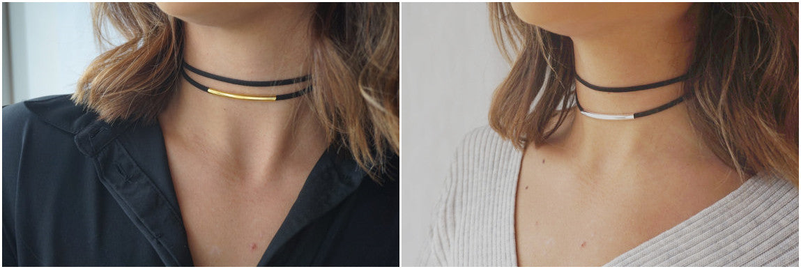 Apotie Jewelry 925 Sterling Silver Sliding Pipe Suede Choker