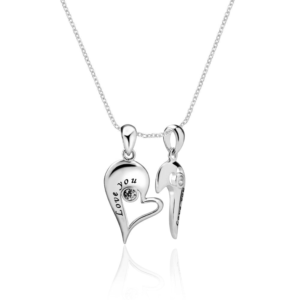 Engraving companion necklace apotie apotie jewelry 925 sterling silver lover and bff engraving split heart necklace aloadofball Gallery