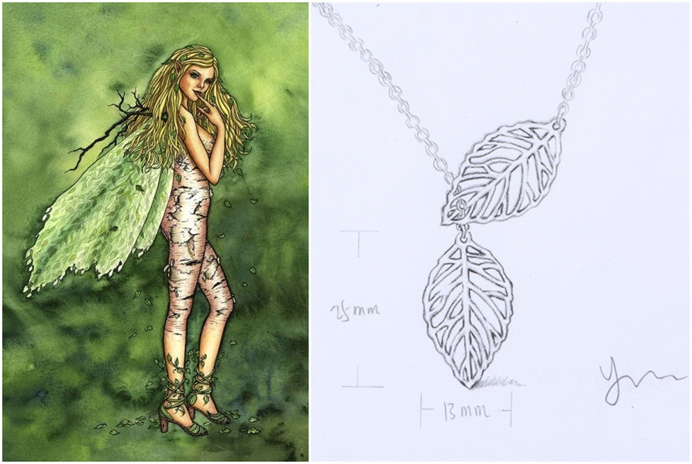 inspiration of filigree birch leaves necklace